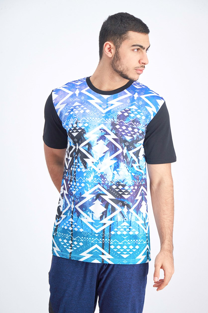 Men's Native Tropics Print Mesh Tee, Blue/Purple/Black