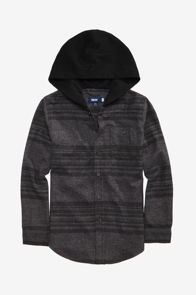 Kids Boys Hooded Shirt, Black
