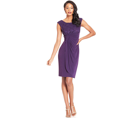 Connected Apparel Women's Gathered Sheath Dress, Purple