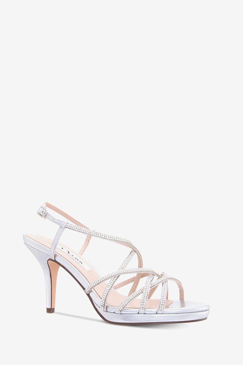 Vilma Metallic Strappy Dress Sandals, Silver Titan