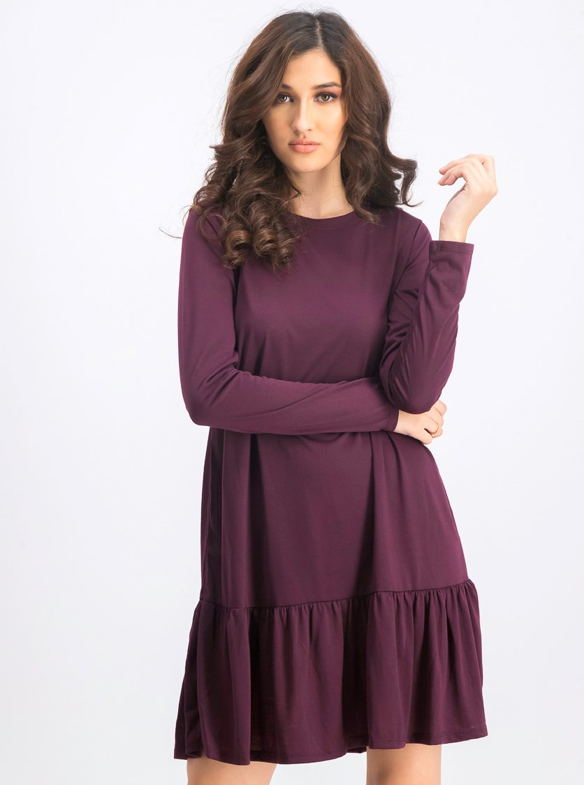 Women's Long Sleeve Dress, Burgundy