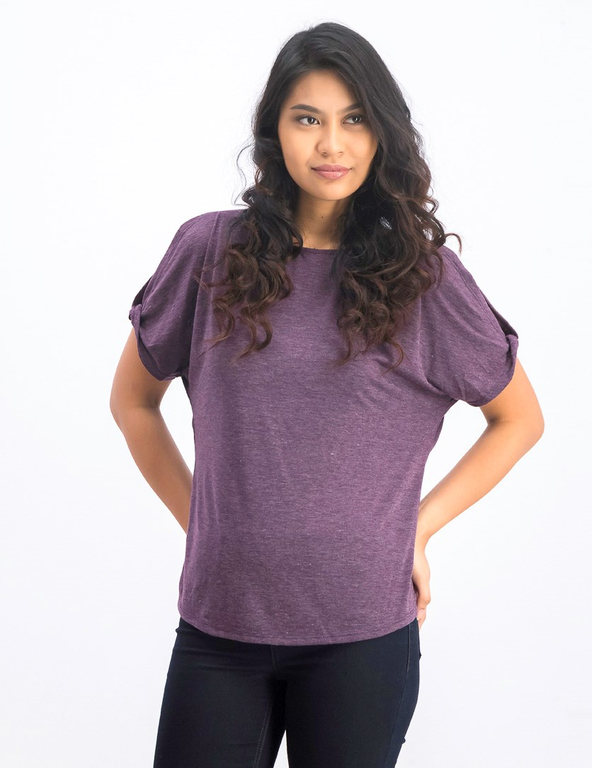 Women's Short Sleeve Top, Heather Purple