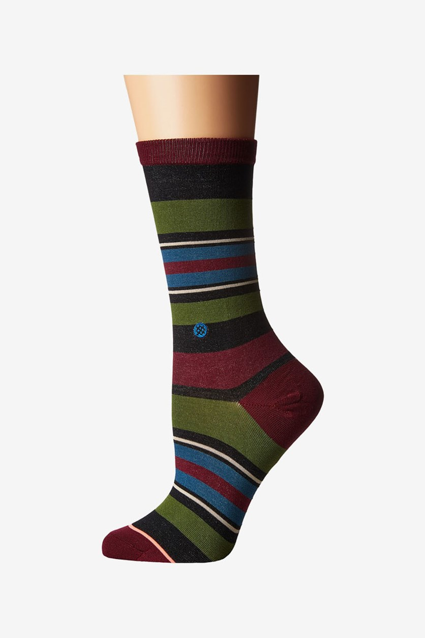 Women's Latitude Crew Knee High Socks, Black/Maroon Combo