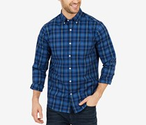 Men's Classic Fit Plaid Button-Down Shirt, Navy