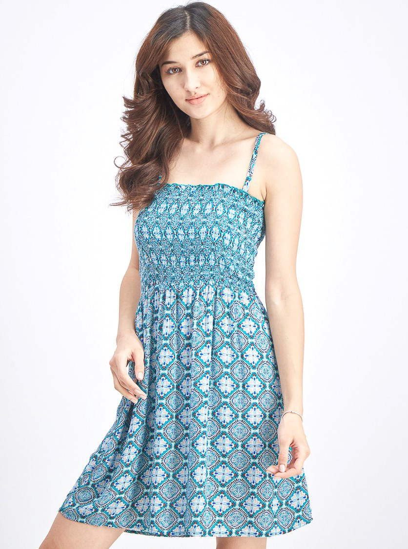 Women Mini Floral Dress, Green/Blue Combo