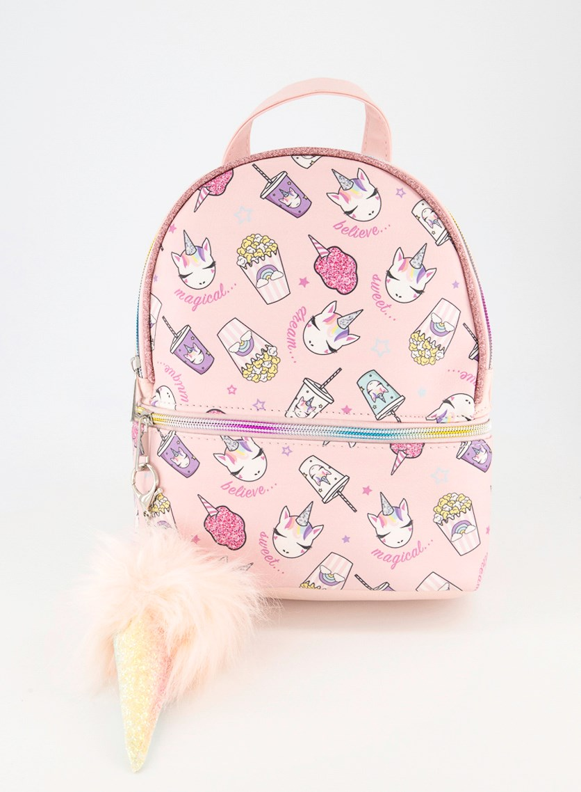 Kids Unicorn Junk Food Mini Backpack, Pink Combo