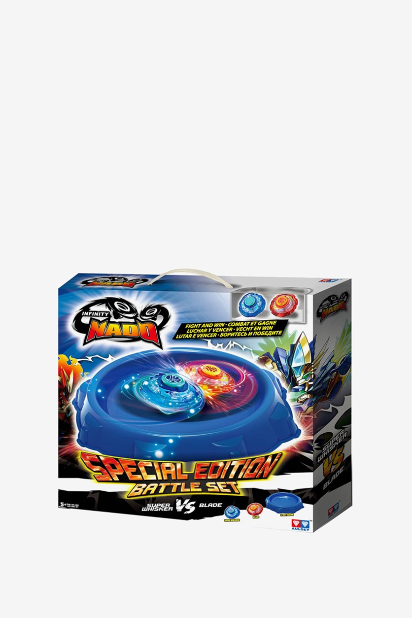 Battle Stunt Area with 2 Metal Nado Spinning Toys, Blue/Red