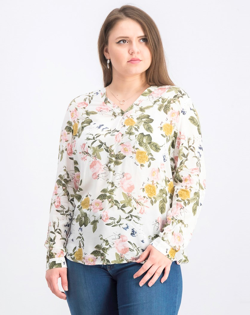 Women's Floral Top, White Combo