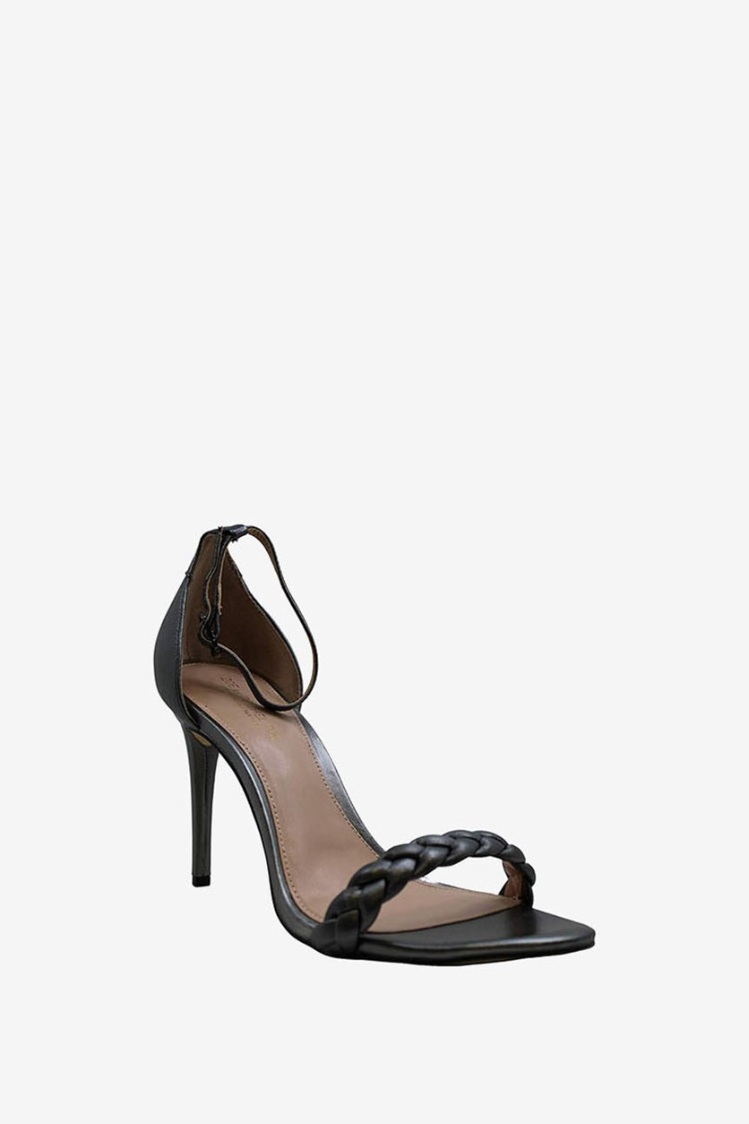 Womens Ella Metallic Leather Dress Sandals, Charcoal Grey