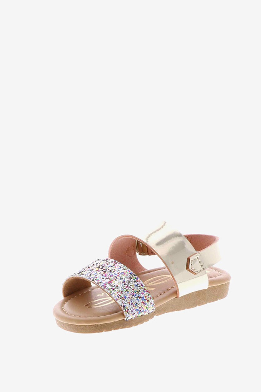 Girl's Glittery Slip On Sandal, Rose Gold