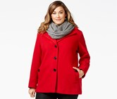 Calvin Klein Plus Size Wool-Blend Single-Breasted Peacoat, Red