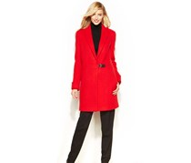 Calvin Klein Women's  Notch Collar Clip Coat, Red