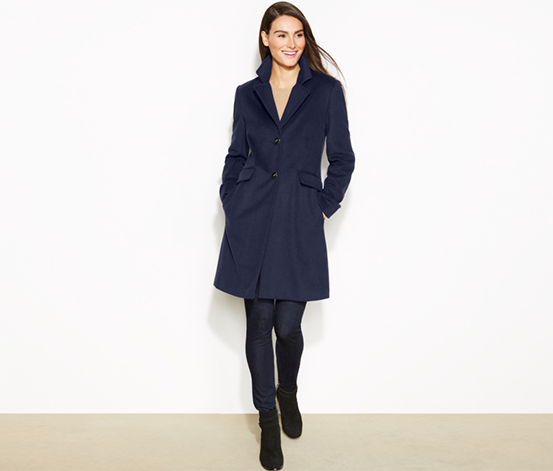 Calvin Klein Women's Single-Breasted Wool-Cashmere-Blend Coat, Navy