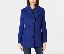 Calvin Klein Women's Wool-Blend Single-Breasted Peacoat, Blue