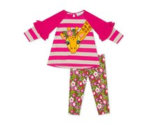 Rare editions Girls 2-Pc. Giraffe Tunic & Printed Leggings Set, Pink