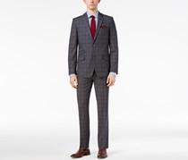 Men's Slim-Fit Gray Plaid Suit, Gray