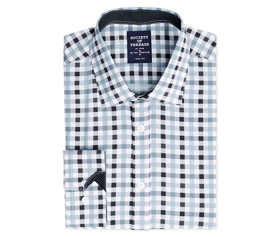 Men's Slim-Fit Stretch Gingham Dress Shirt, Gray
