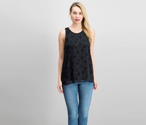 Vince Camuto Clip Dotted High-Low Hem Top, Black