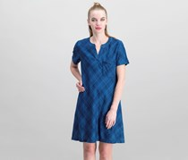 Plaid Denim A-Line Dress, Bleached Blues