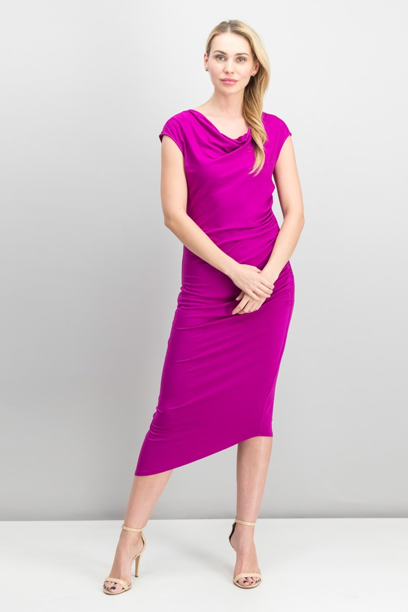 Asymmetrical Midi Dress, Fuchsia Fury