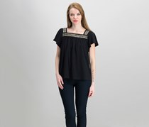 Vince Camuto Cotton Beaded Top, Rich Black