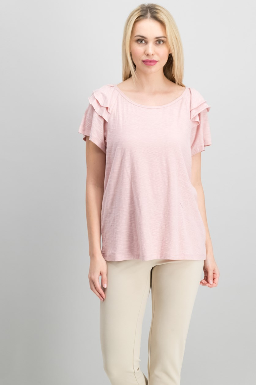 Cotton Tiered Ruffled-Shoulder, Pink Fawn