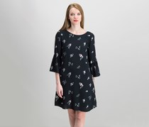 Vince Camuto Bouquet-Print Bell-Sleeve Dress, Black Combo