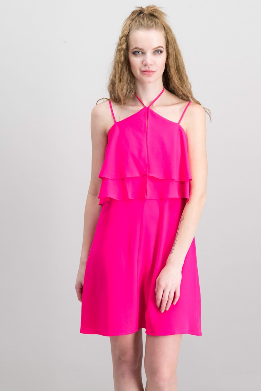 Women's Halter Neck Ruffled Dress, Viva Pink