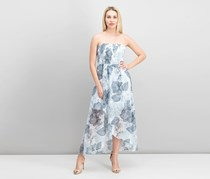Vince Camuto Floral-Print Strapless Dress, Ultra White