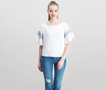 Women Bell Sleeve Top, White