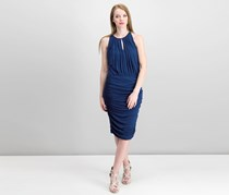 Vince Camuto Ruched Keyhole Dress, Navy Blue