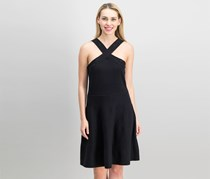 Vince Camuto Crisscross-Neck Perforated Dress, Rich Black