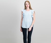 Vince Camuto Boat-Neck Ruffle-Sleeve Top, Dew Blue