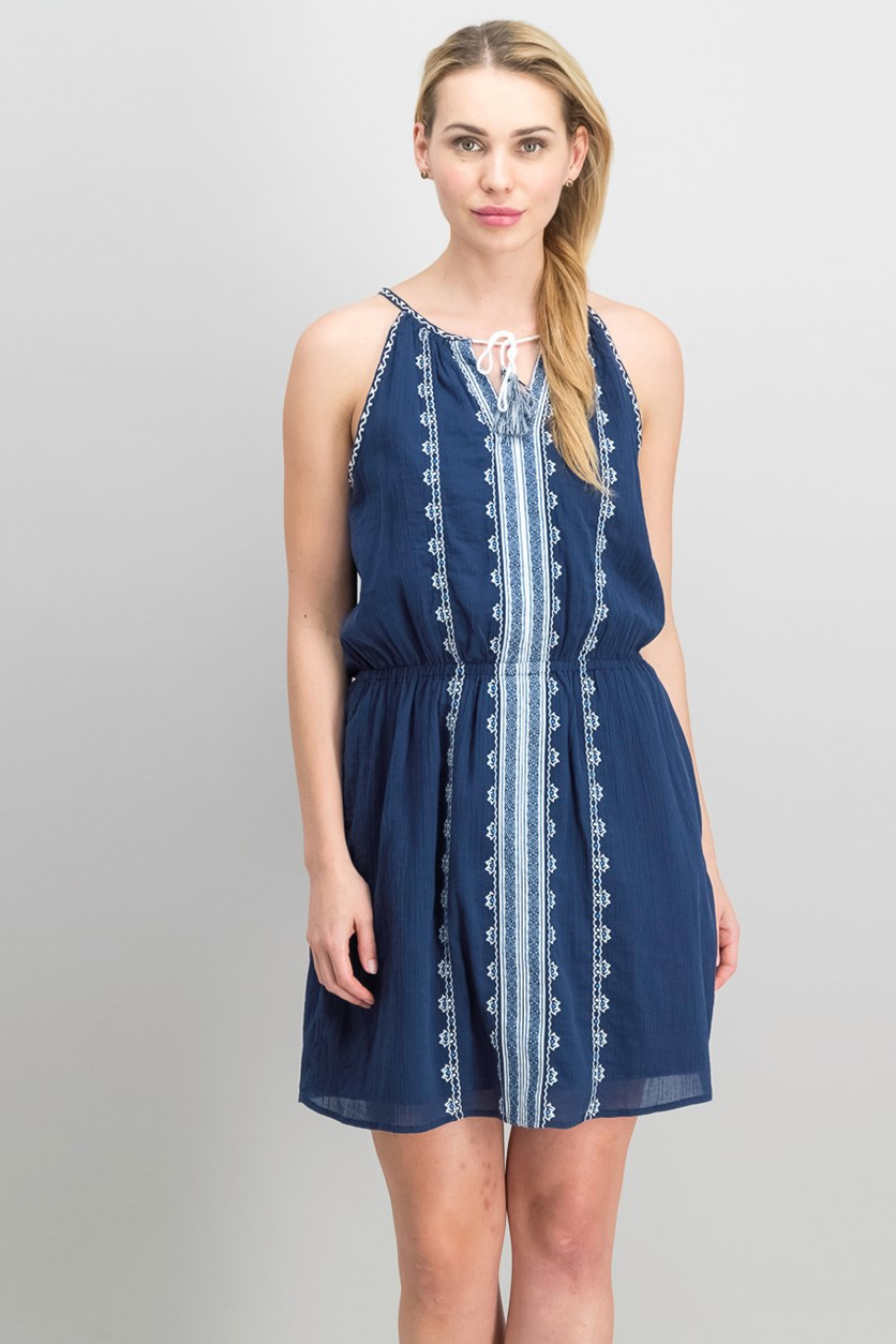 Embroidered Cotton Dress, High Tide Navy