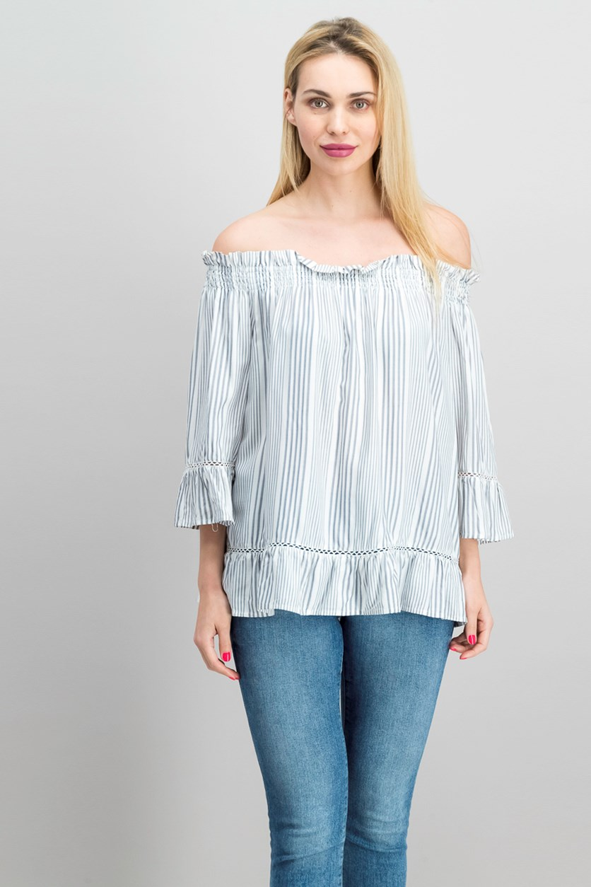 Striped Crochet-Inset Top, Quarry