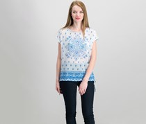 Vince Camuto Side-Tie Printed Solid Top, Blue Combo