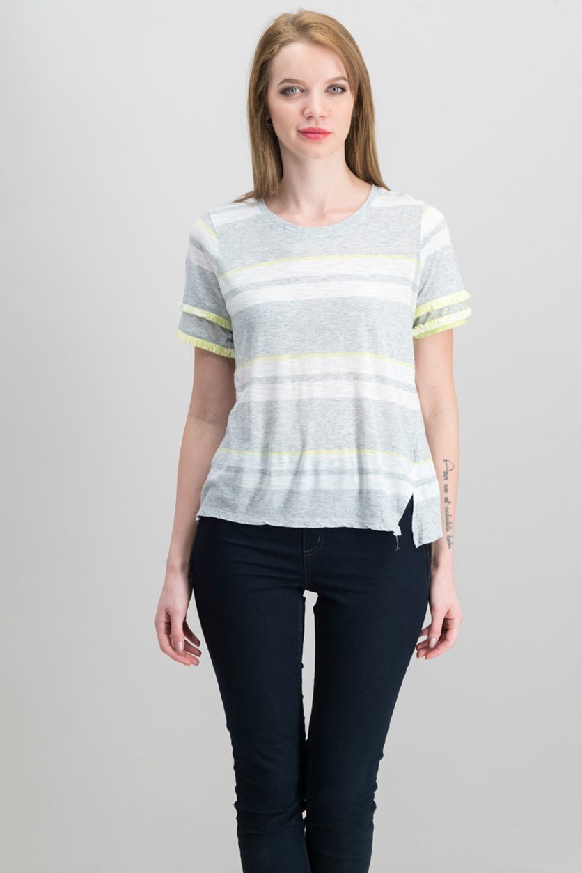Tiered Fringe T-Shirt, Grey Heather