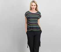 Paradise Striped Solid Top, Rich Black