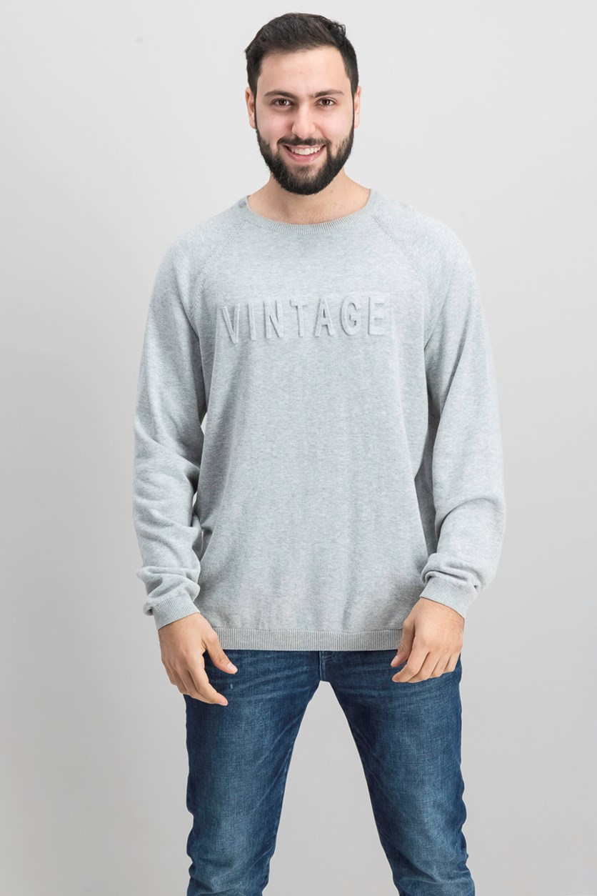 Vintage Men's Logo Sweater, Gray Heather