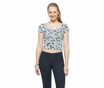 Mossimo Cropped Ballet Tee Shirt, Dog Bone Floral