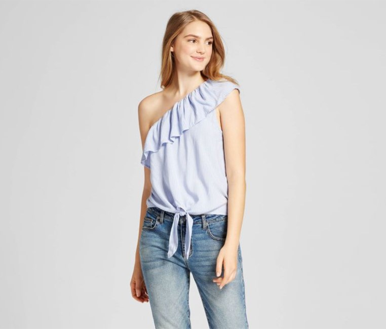 One Shoulder Sleeves Top, Blue