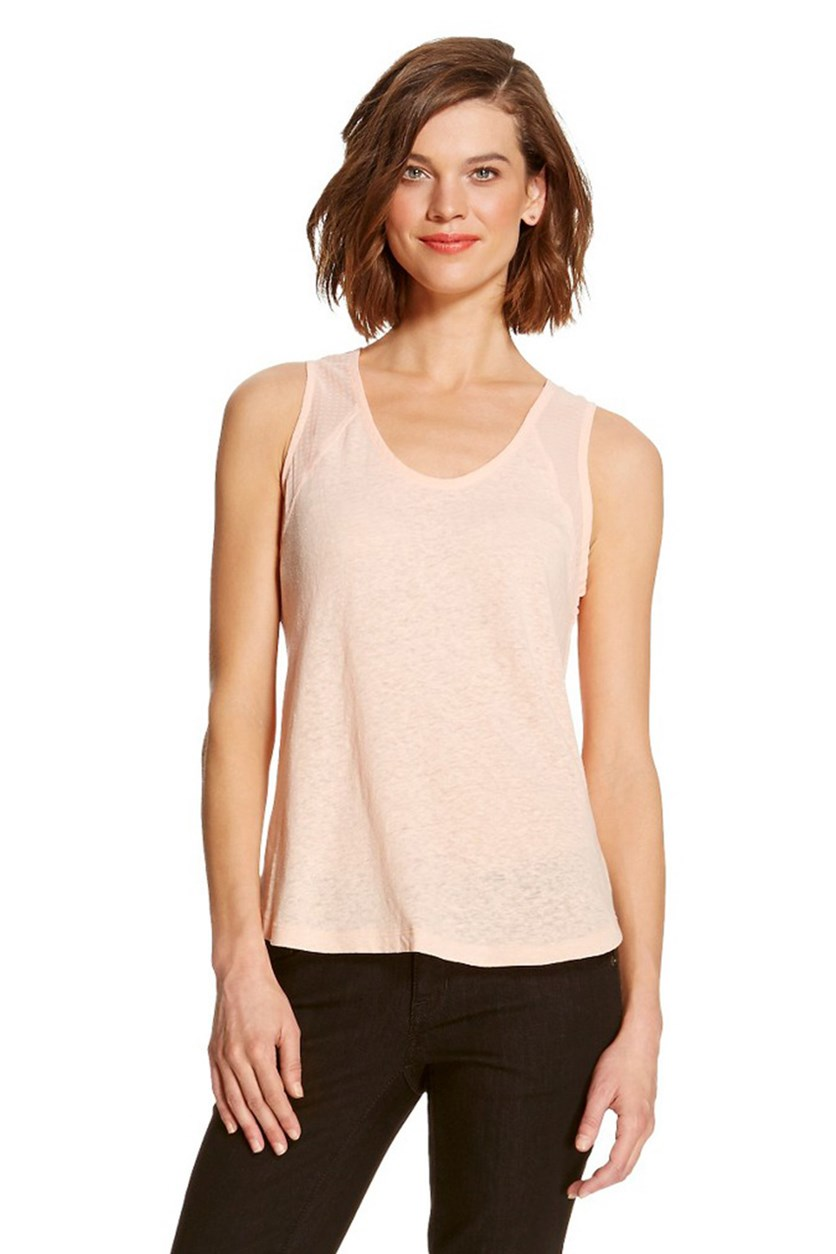 Women's Woven-Trimmed Slub Shell Tank Top, Peach