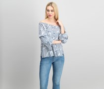 Crave Fame by Almost Famous Juniors' Off-The-Shoulder Tiered Top, Navy Combo