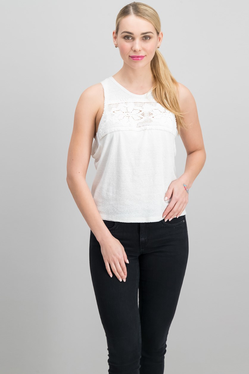 Window Sleeveless Lace-Yoke Top, Ivory
