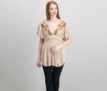 Free People Women's Fiesta Nueva Embroidered Tunic, Sand