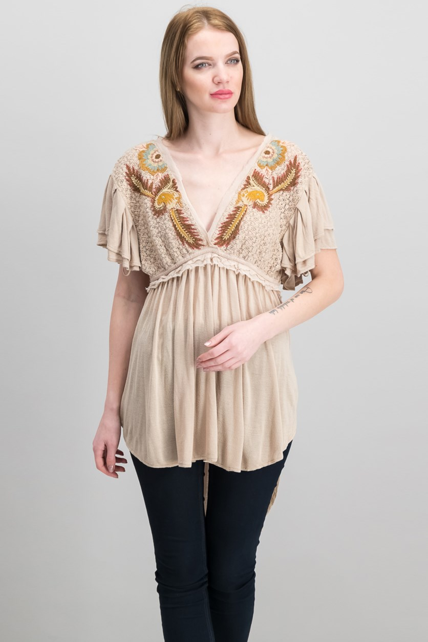 Women's Fiesta Nueva Embroidered Tunic, Sand