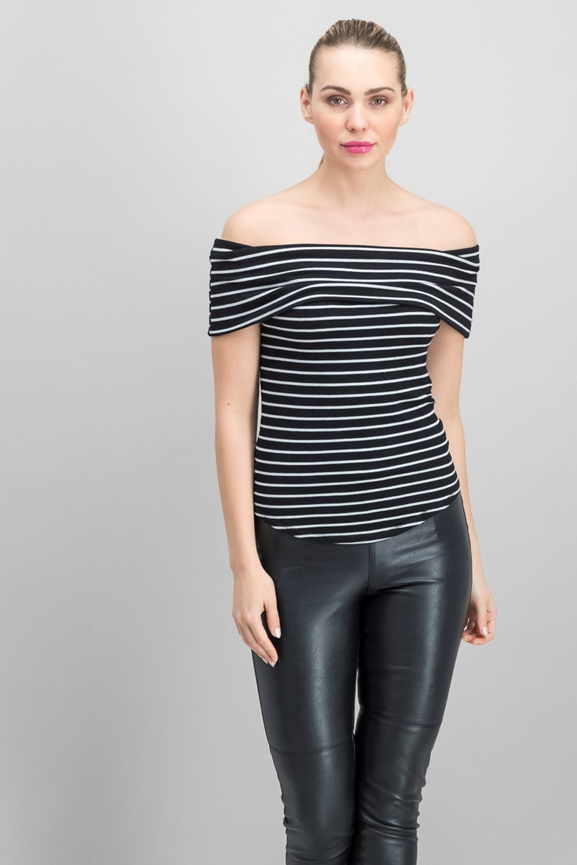 Women's Melbourne Off-The-Shoulder Stripe Tee, Black