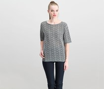 Eileen Fisher Textured Top, Black Combo