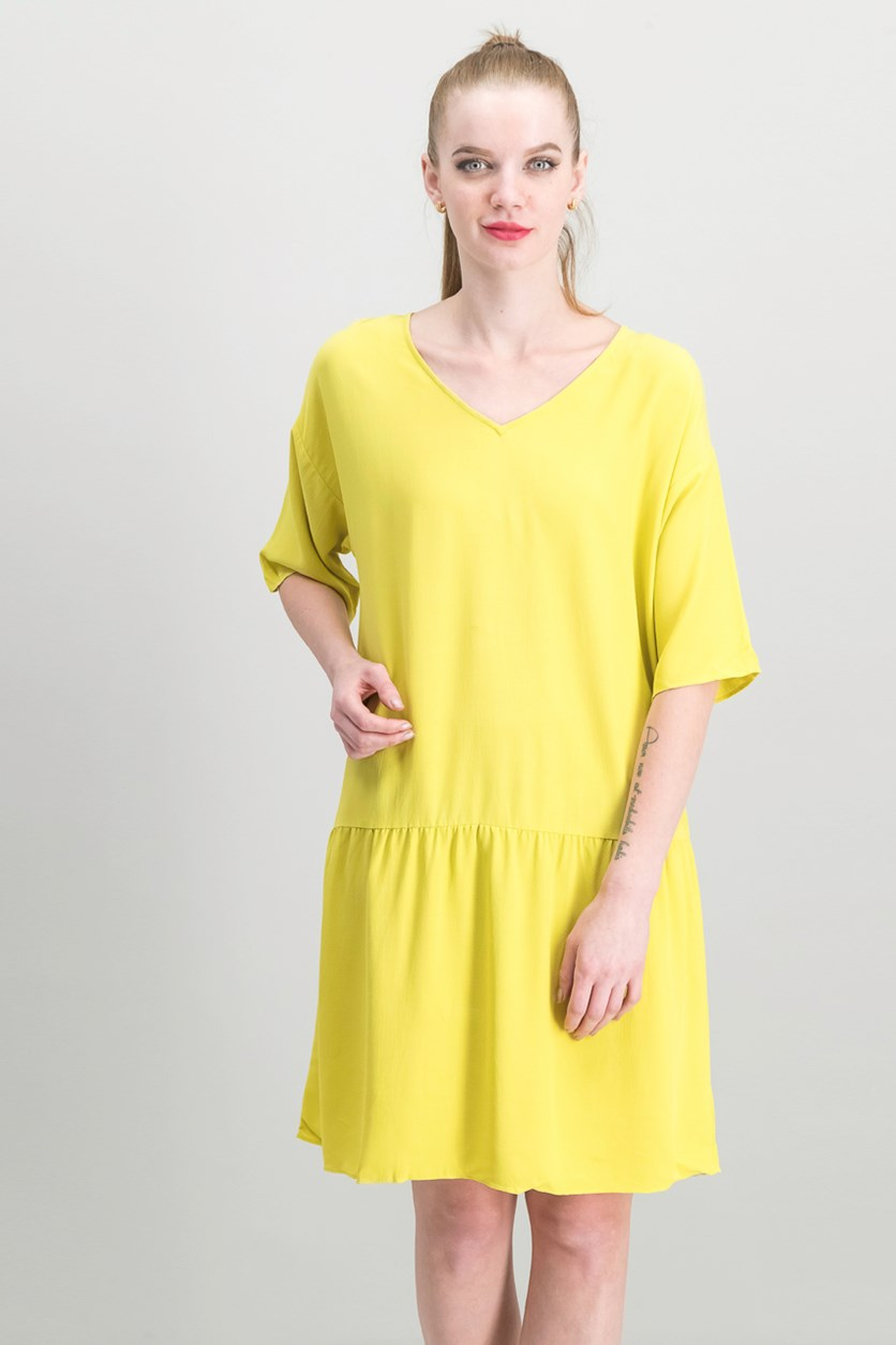 Drop-Waist Dress, Yellow
