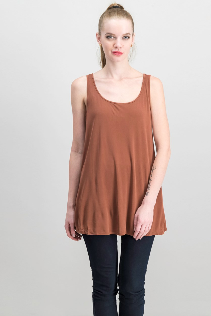 Women Scoop Neck Top, Rust